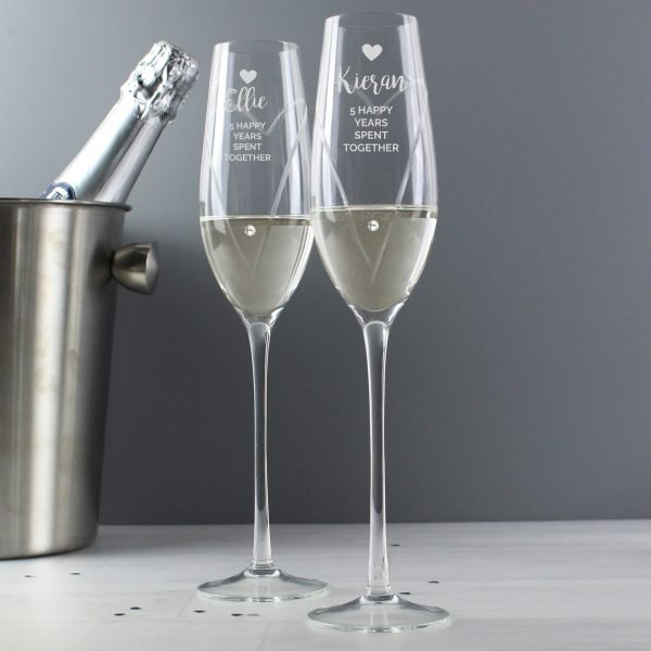 Hand Cut Heart Celebration Pair of Flutes with Swarovski Elements in Gift Box