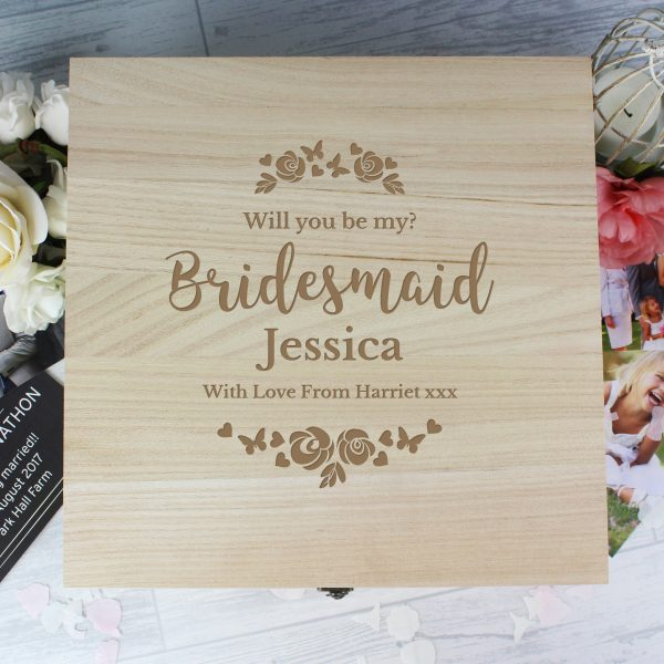 Bridesmaid 'Floral Watercolour Wedding' Large Wooden Keepsake Box