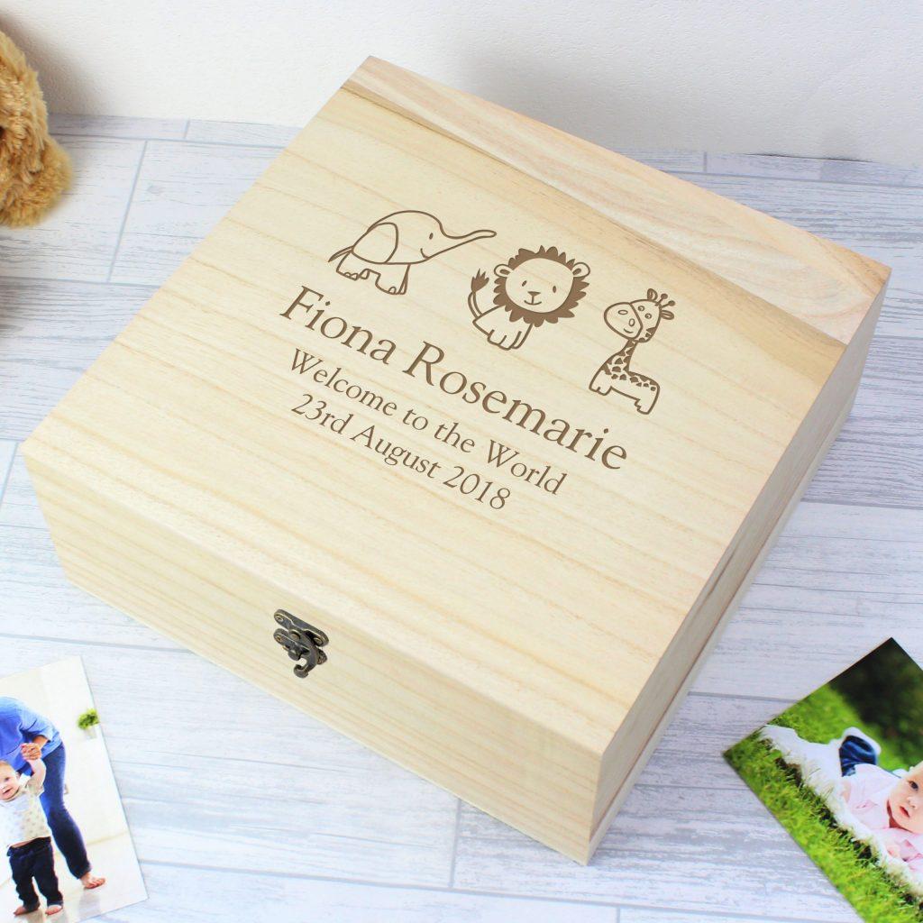 Hessian Friends Large Wooden Keepsake Box
