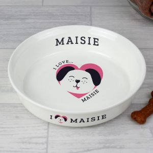 I Love my Dog - Cute Design' Ceramic White Pet Bowl