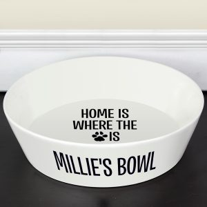 Home Is Where The Paw Is' 20cm Large Ceramic White Pet Bowl