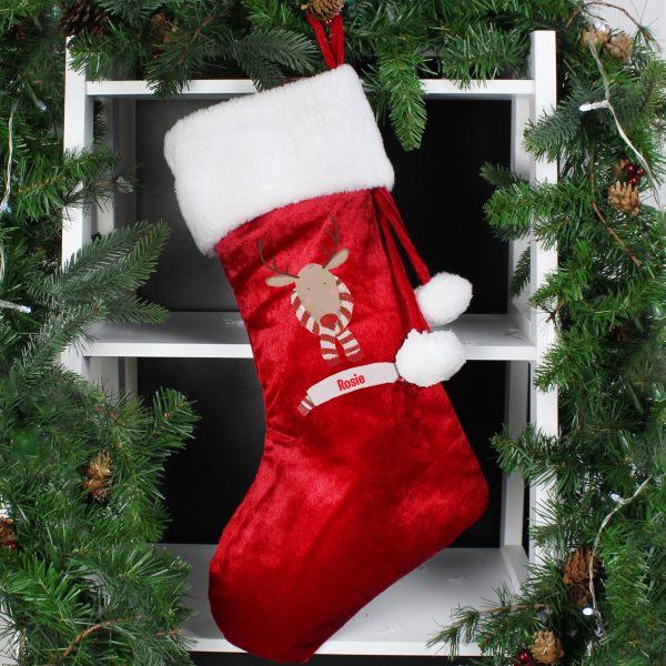 Retro Reindeer Luxury Stocking