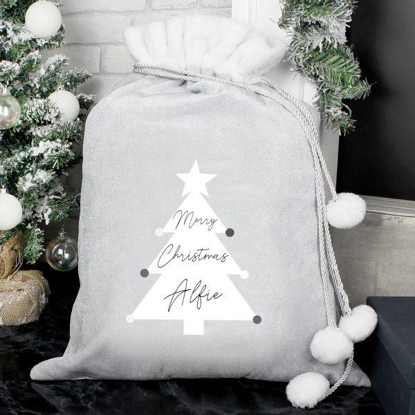 Christmas Tree Luxury Silver Grey Pom Pom Sack