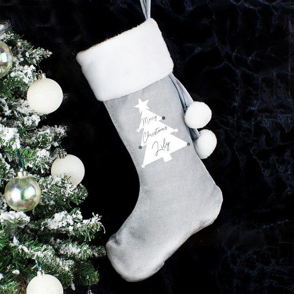 Christmas Tree Luxury Silver Grey Stocking