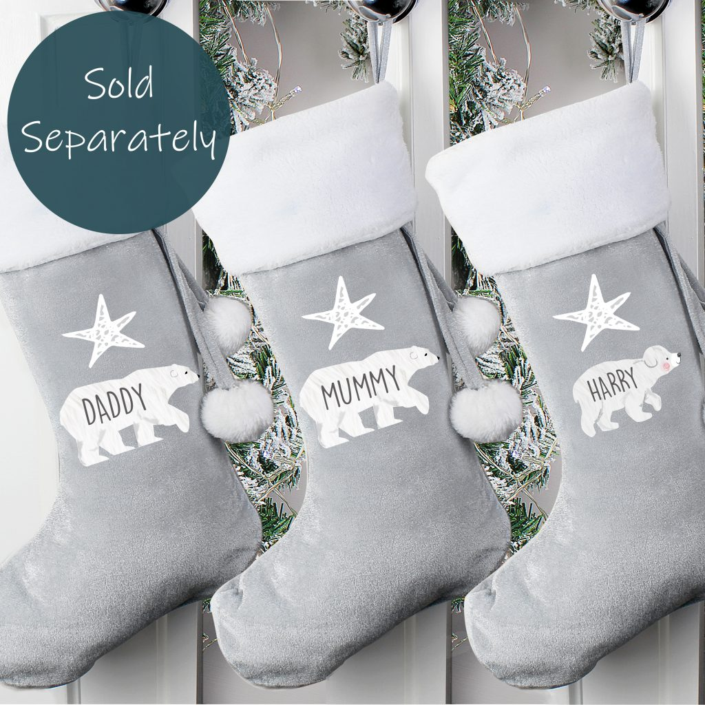 Baby Polar Bear Luxury Silver Grey Stocking