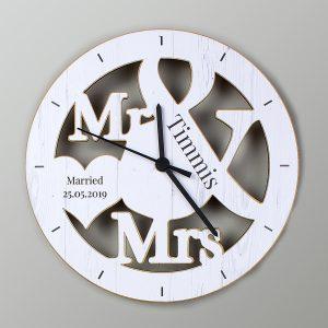 Mr & Mrs Shape Wooden Clock