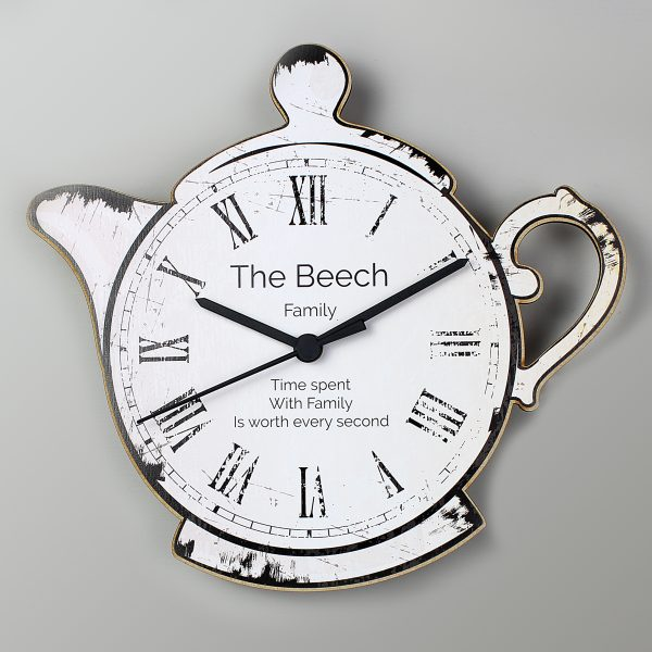 Teapot Shape Wooden Clock