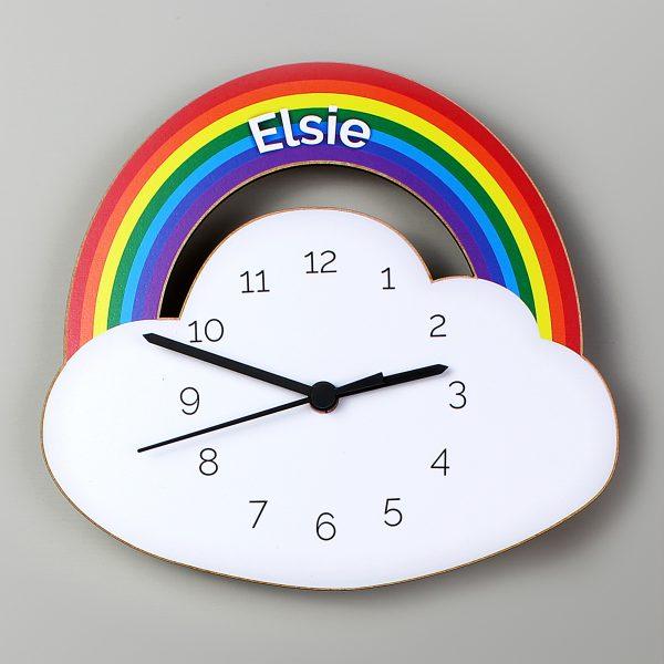 Rainbow and Cloud Shape Wooden Clock