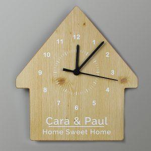 Wood Grain Design House Shape Wooden Clock