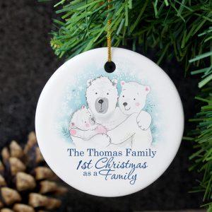 Polar Bear '1st Christmas As A Family 'Round Ceramic Decoration