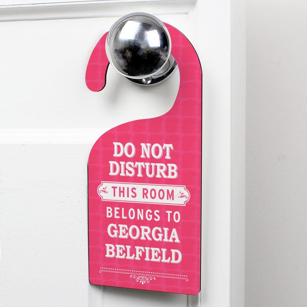 Pink 'Do Not Disturb' Door Hanger