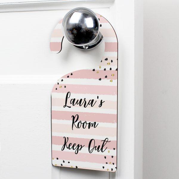 Gold and Pink Stripe Door Hanger