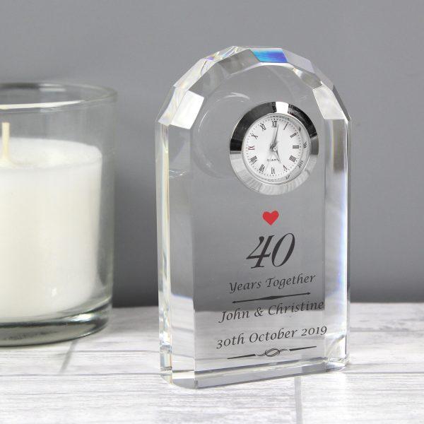 Ruby Anniversary Crystal Clock
