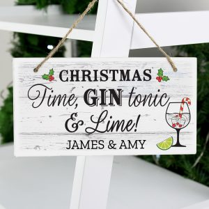 Christmas Gin Wooden Sign
