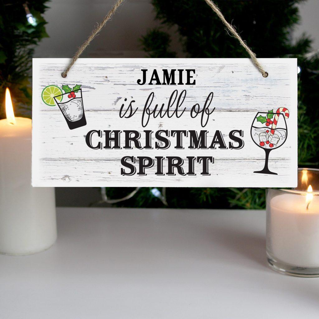 Christmas Spirit Wooden Sign
