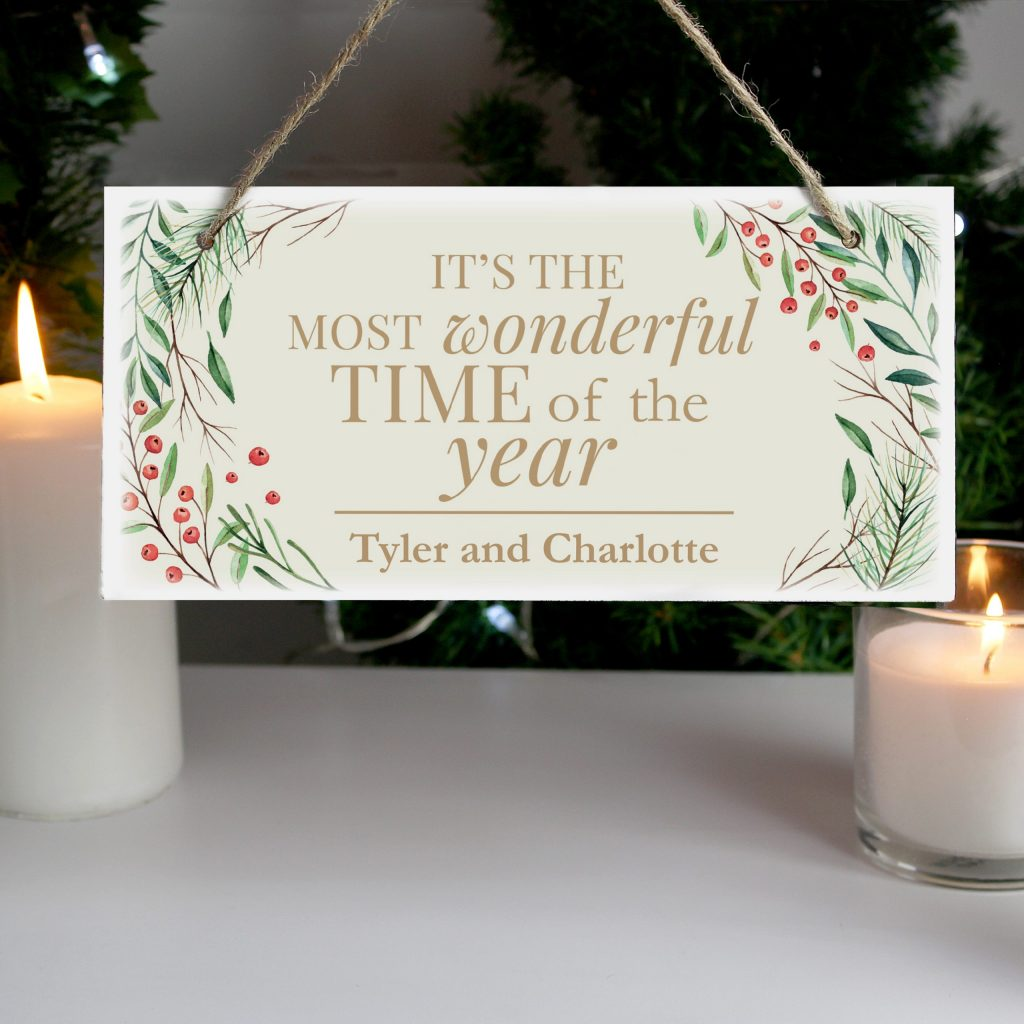 Wonderful Time of The Year' Christmas Wooden Sign