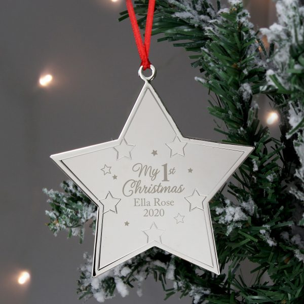 Personalised My 1st Christmas Star Metal Decoration