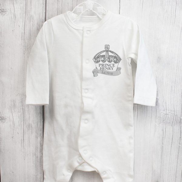 Personalised Royal Crown 0-3 Months Babygrow