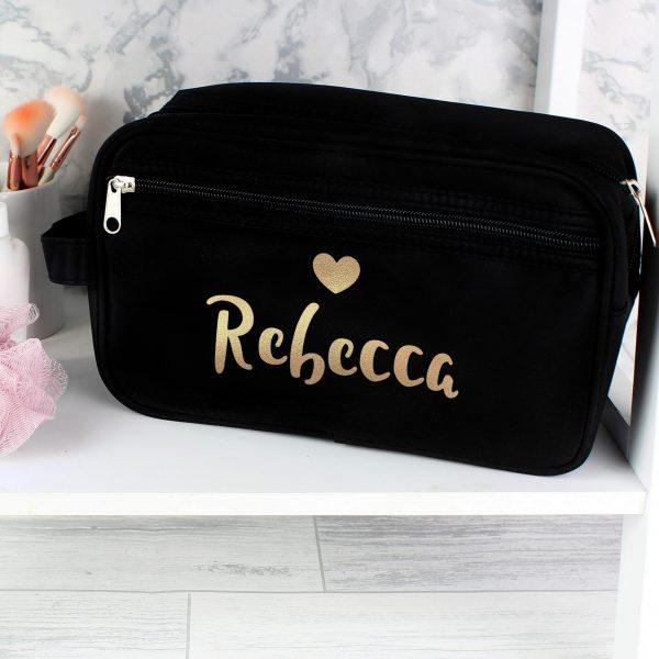 Personalised Gold Name Black Vanity Bag
