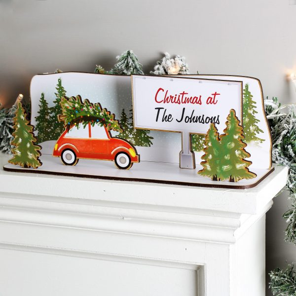Personalised Driving Home For Christmas Wooden Scene