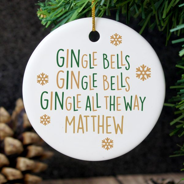 Personalised Gin-gle Bells Round Ceramic Decoration