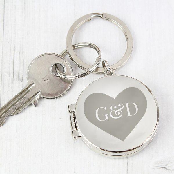 Personalised Couples Initials Photo Keyring