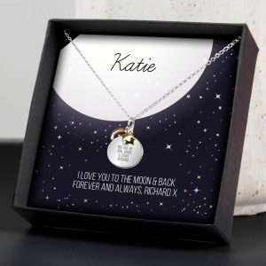 Personalised Sentiment Moon & Stars Sterling Silver Necklace and Box