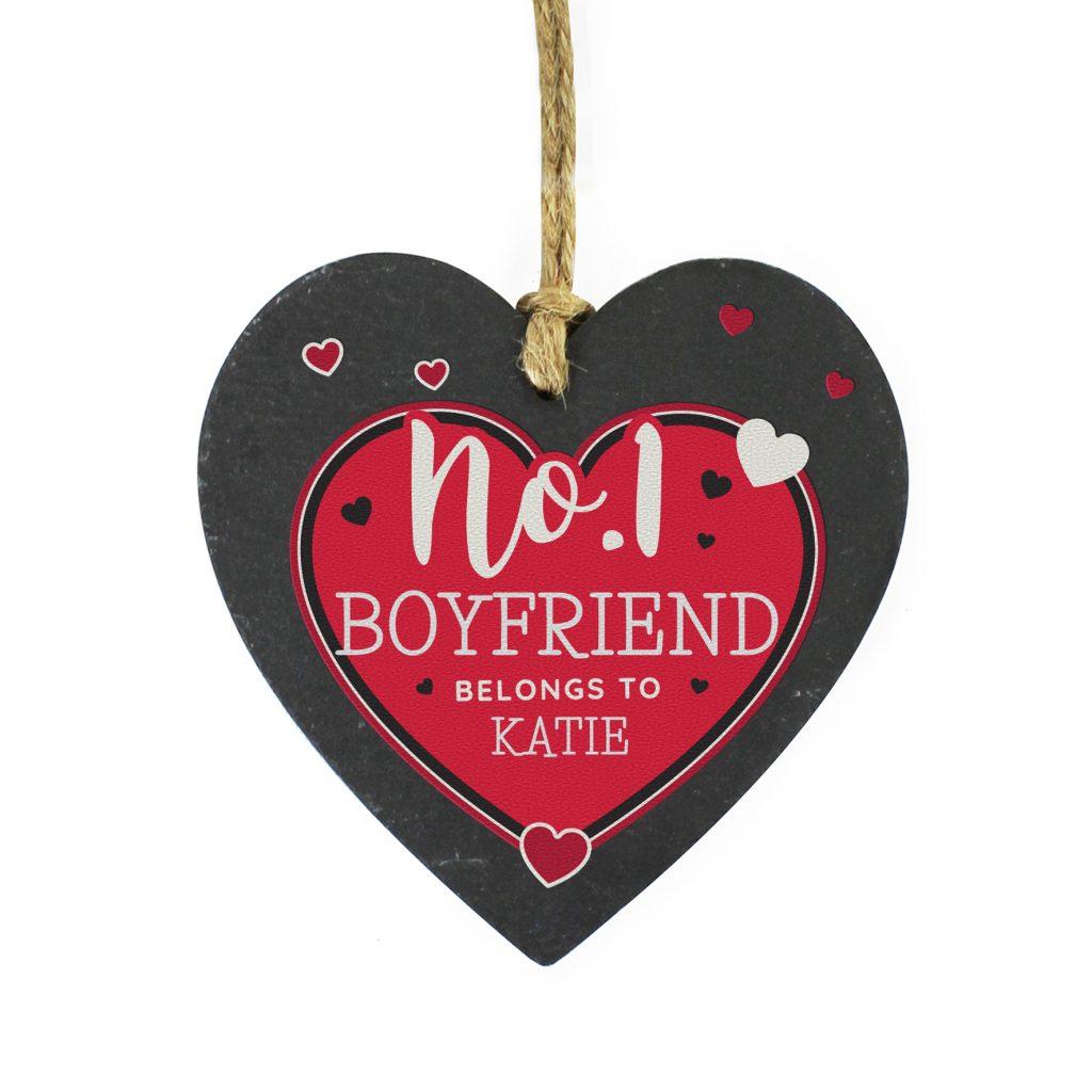 Personalised No.1 Belongs To Printed Slate Heart Decoration