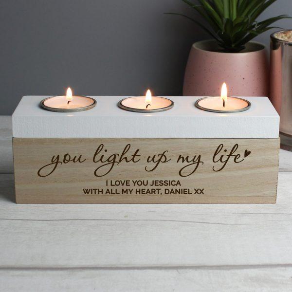 Personalised You Light Up My Life Triple Tea Light Box