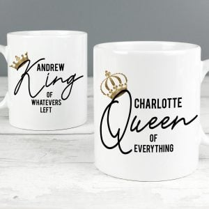 Personalised King and Queen of Everything Mug Set