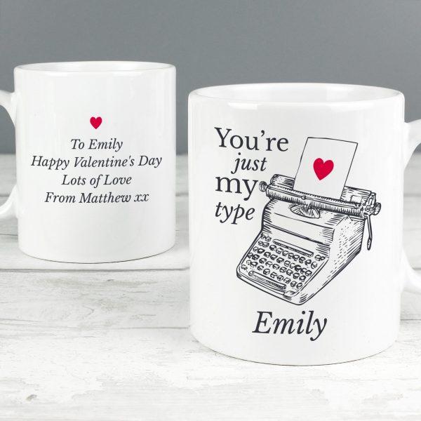 Personalised Just My Type Valentines Mug
