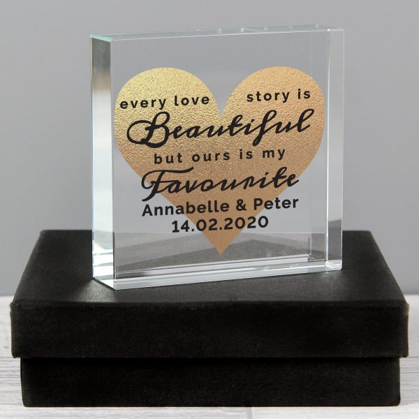 Personalised Every Love Story Is Beautiful Large Crystal Token