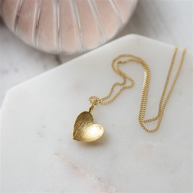 Brushed 'Heart of Gold' Pendant Necklace