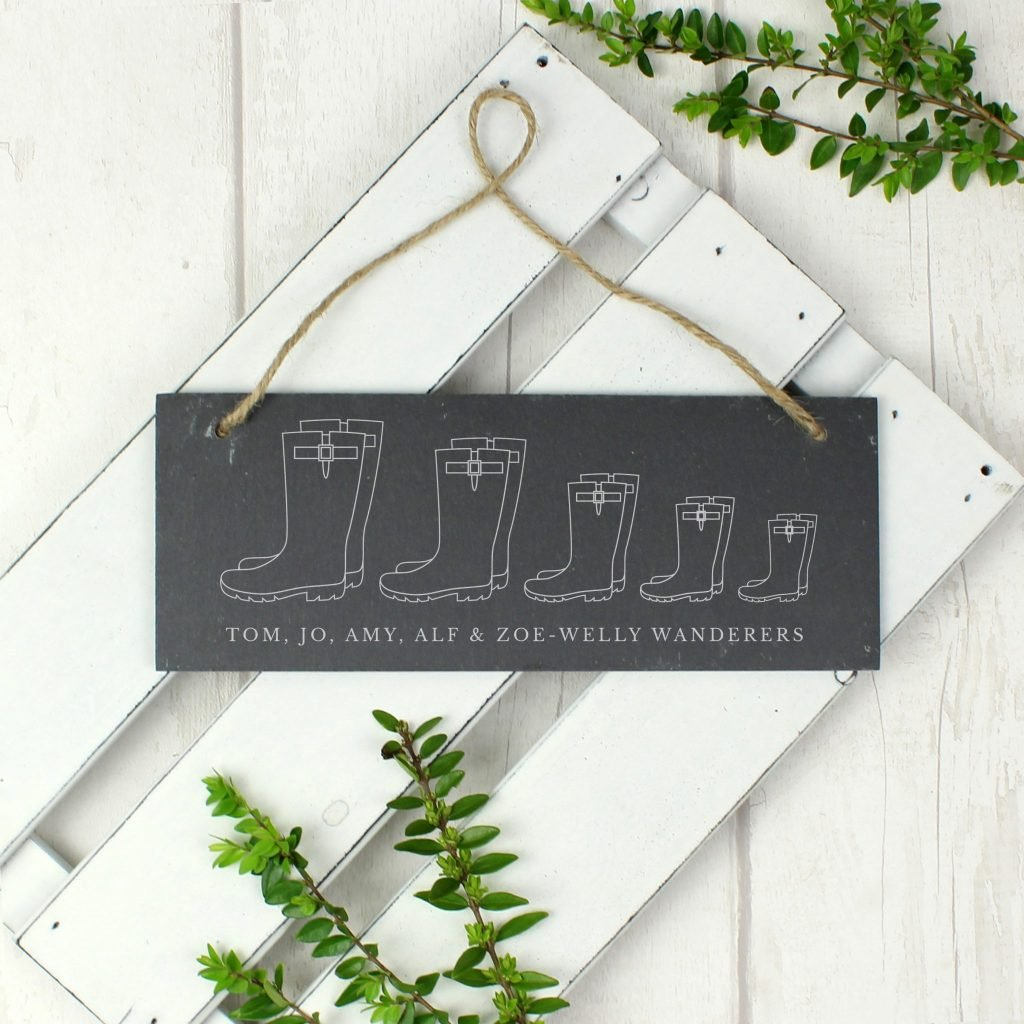Welly Boot Family of Five Hanging Slate Plaque