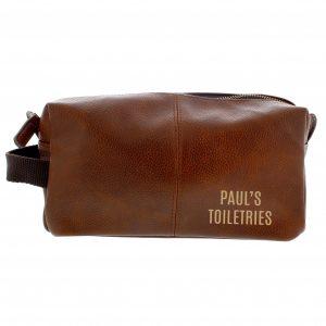 Personalised Luxury Brown leatherette Wash Bag