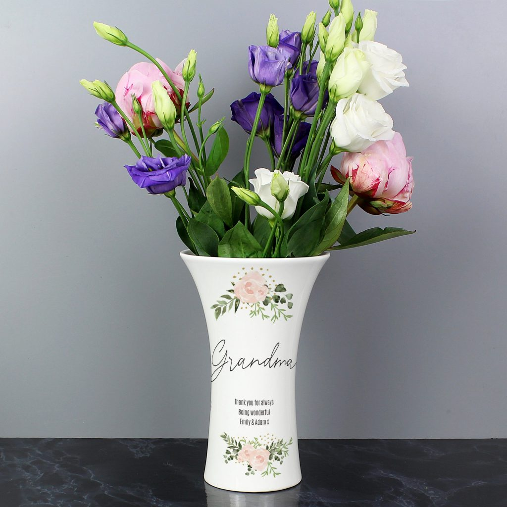 Abstract Rose Ceramic Waisted Vase