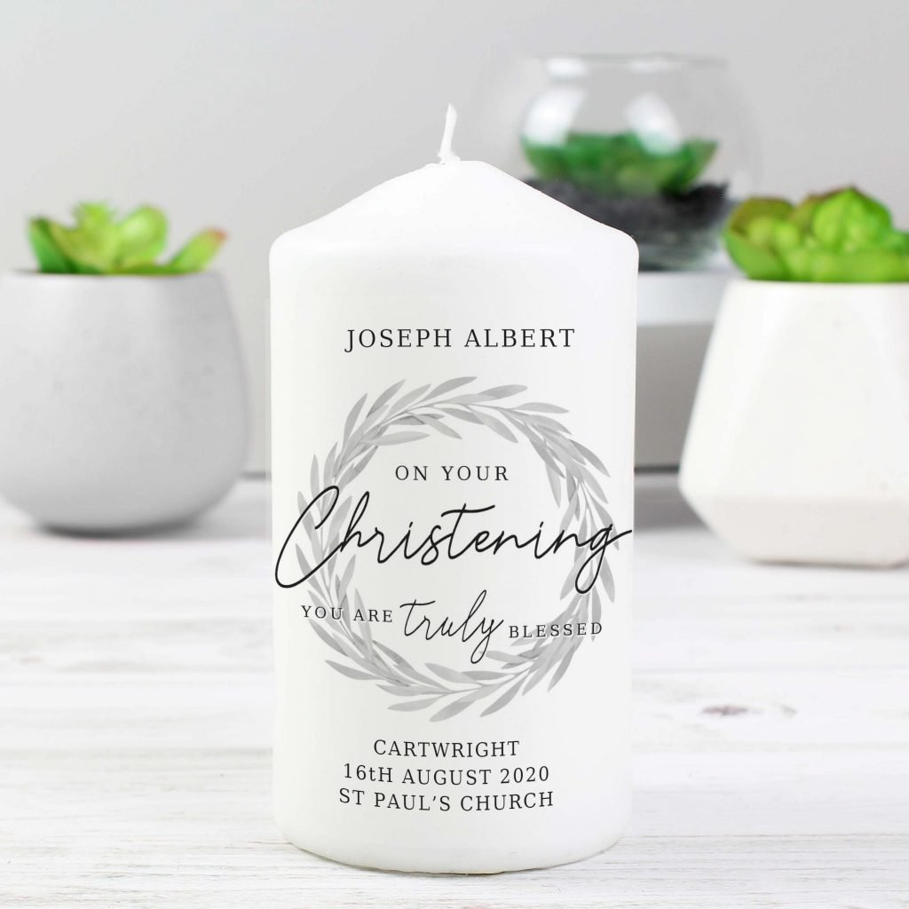 Truly Blessed' Christening Pillar Candle