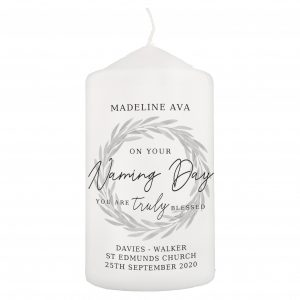 Truly Blessed' Naming Day Pillar Candle