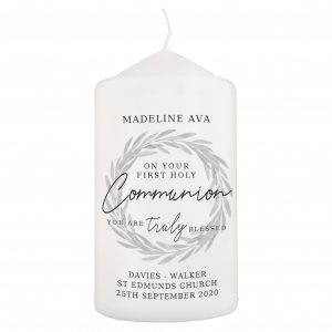 Truly Blessed' First Holy Communion Pillar Candle