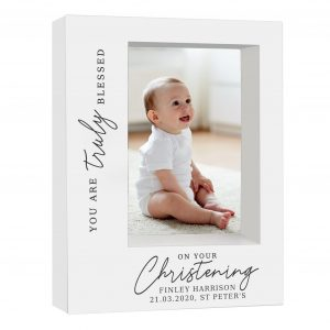 Truly Blessed' Christening 7x5 Box Photo Frame
