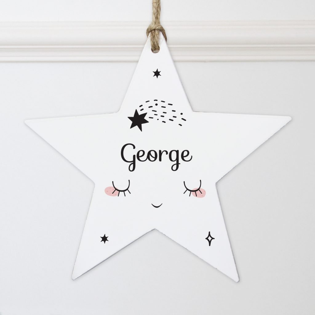 Personalised Baby Moon Wooden Star Decoration