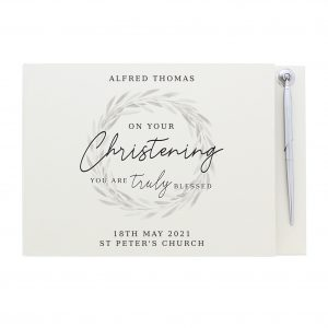 Truly Blessed' Christening Hardback Guest Book & Pen