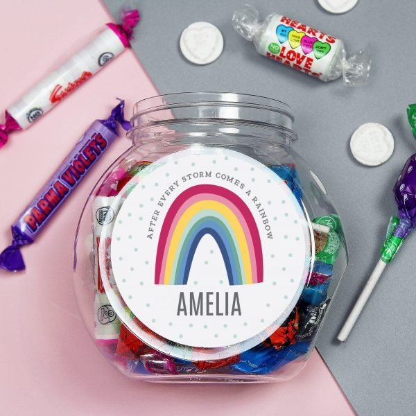 Personalised Rainbow Sweet Jar