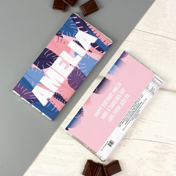 Personalised Palm Leaves Milk Chocolate Bar