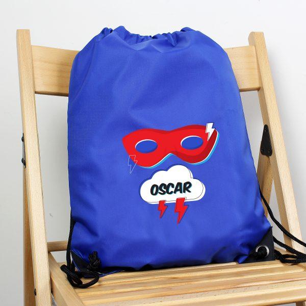 Personalised Superhero Blue Kit Bag