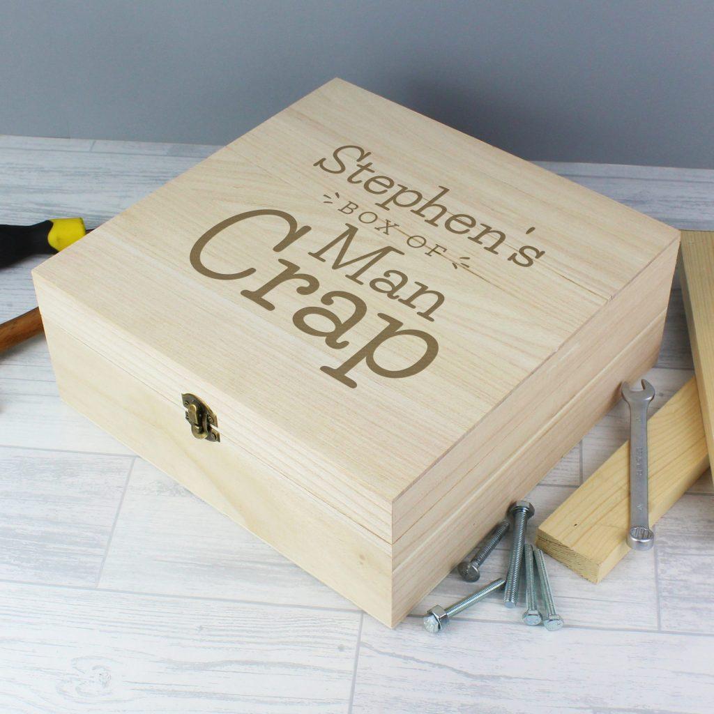 Personalised Box of Man Crap Large Wooden Keepsake Box