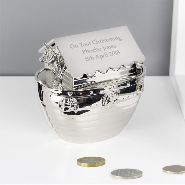 Silver Noahs Ark Money Box