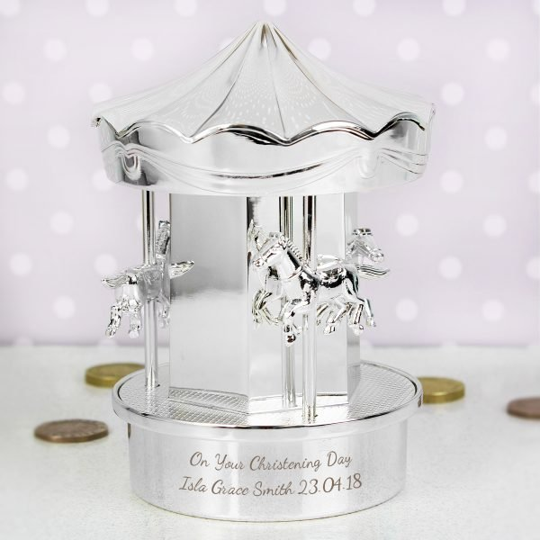Silver Plated Carousel Money Box