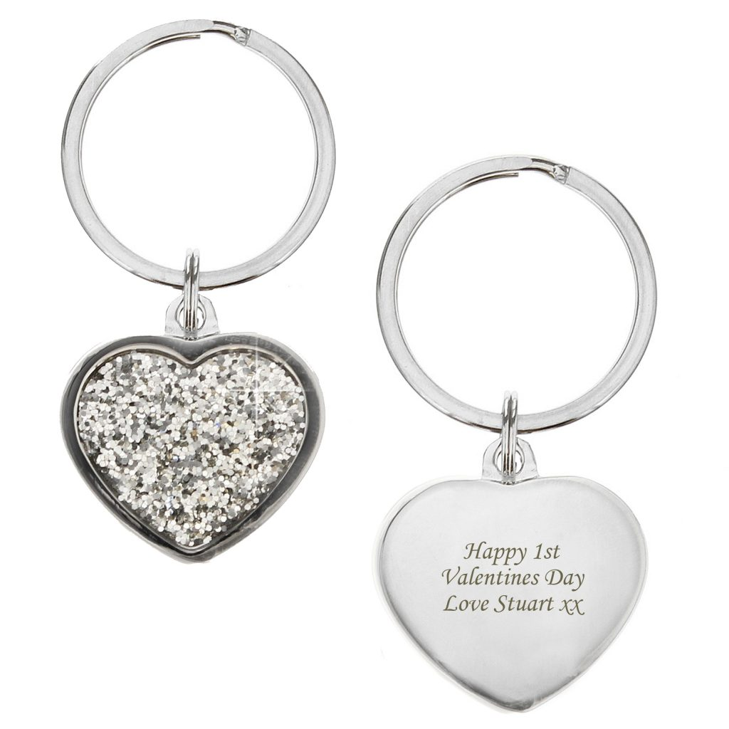Diamante Heart Keyring