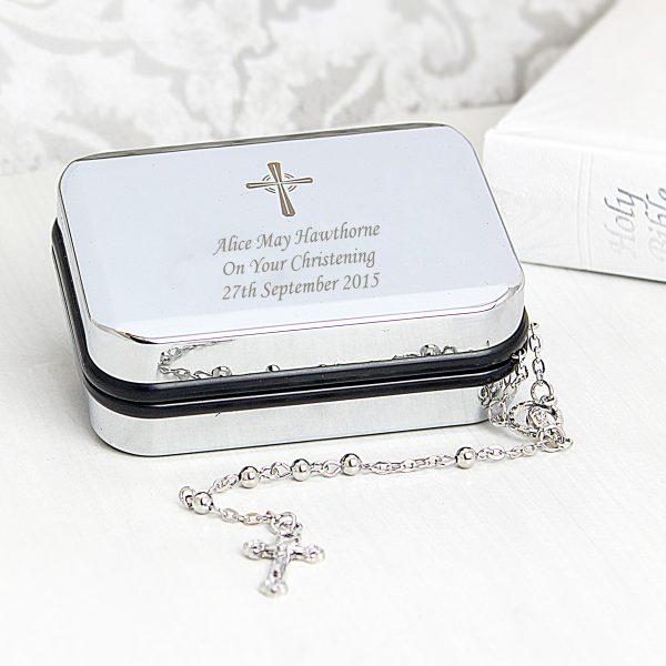 Rosary Beads and Cross Trinket Box